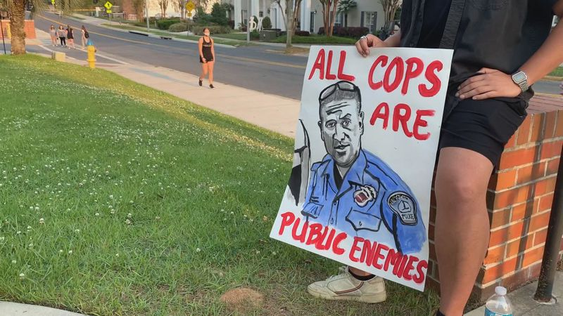 Roughly 30 students at Florida State University marched across campus and stopped to rally...
