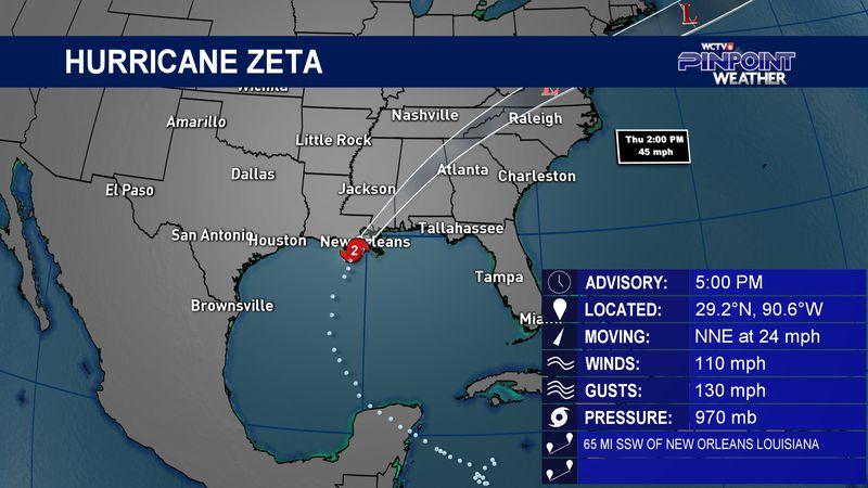 Hurricane Zeta - Wednesday, Oct. 28 5 p.m.  advisory