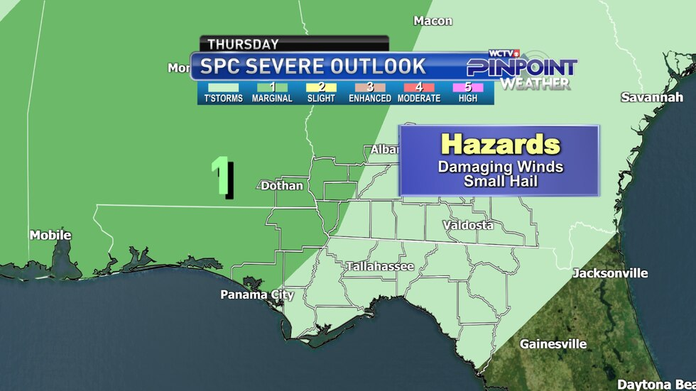 The Storm Prediction Center's severe weather outlook for Thursday, April 8 as of the afternoon...