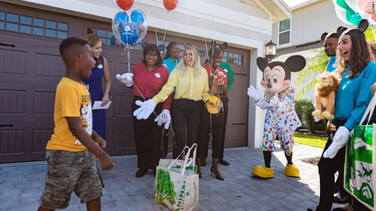 After using the money he'd saved for a trip to the Florida theme parks to buy food for Hurricane Dorian evacuees, Disney magic makers surprised Jermaine with a free vacation.