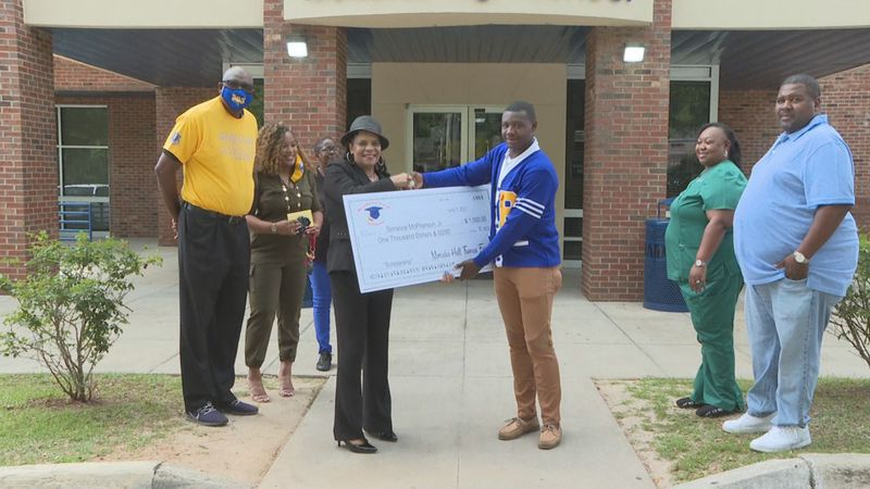 Terrance McPherson is the first to receive the Mercedes Hall Thomas Scholarship.