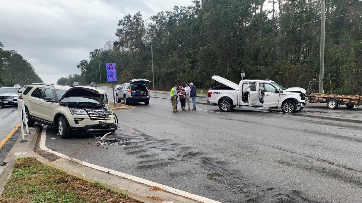 The Tallahassee Police Department is on the scene of a vehicle involving a truck, an SUV and...