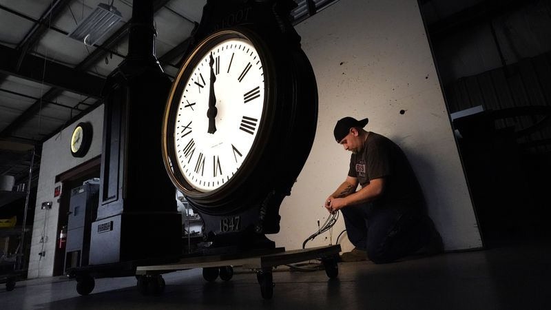 Daylight saving time begins at 2 a.m. local time Sunday, March 14, 2021, when clocks are set...