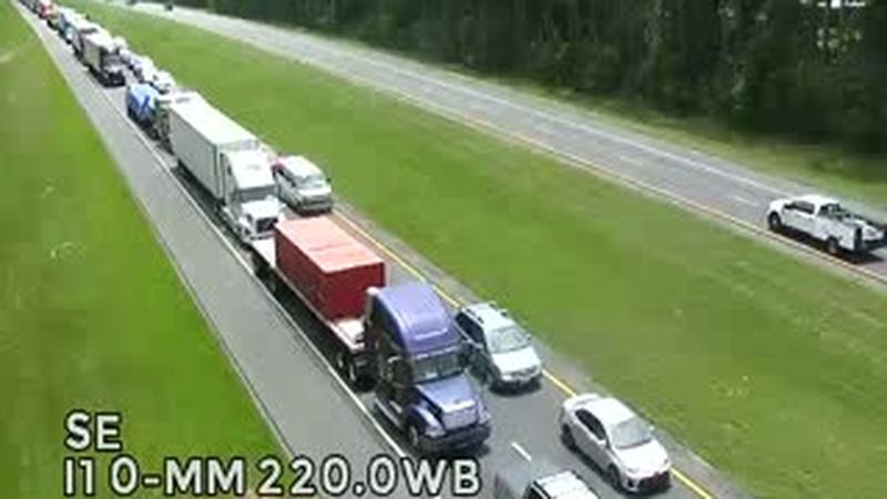 The Florida Department of Transportation says all lanes are blocked on I-10 westbound at mile...