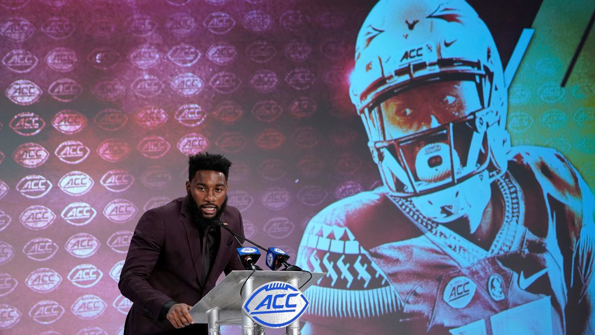 Florida State's Tamorrion Terry speaks during the Atlantic Coast Conference NCAA college football media day in Charlotte, N.C., Wednesday, July 17, 2019. (AP Photo/Chuck Burton)