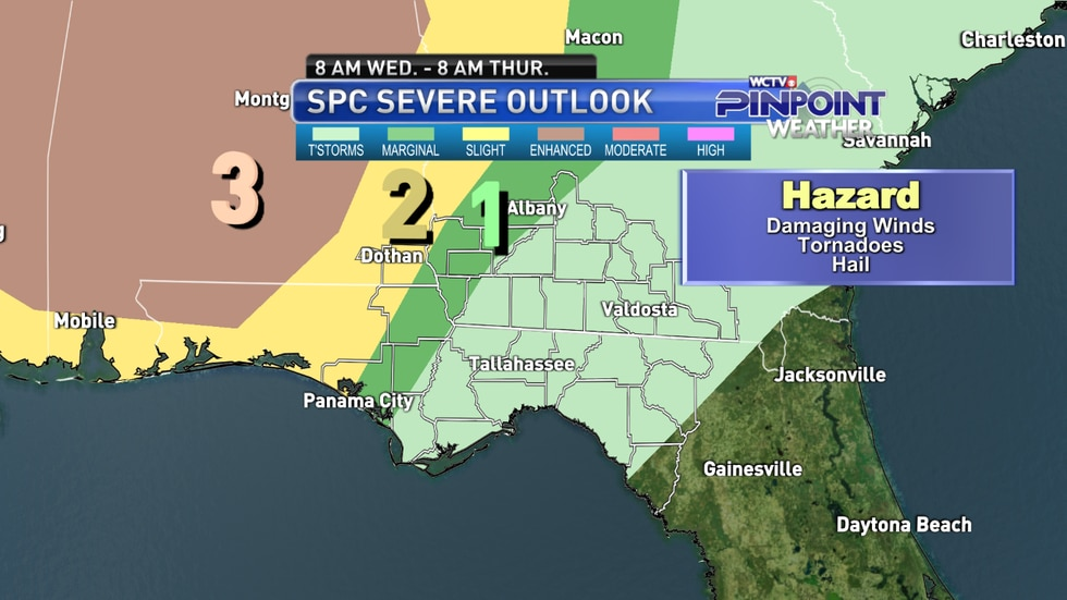The Day 3 severe weather outlook from the Storm Prediction Center as of Monday morning.