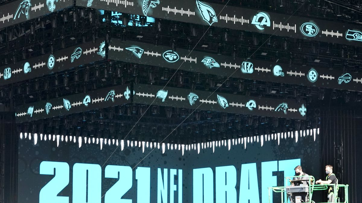 Workers continue preparing the NFL Draft Theatre for the 2021 NFL Draft, Tuesday, April 27,...