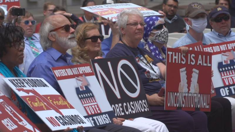 Gambling opponents from across the state rallied at the State Capitol Tuesday against the new...
