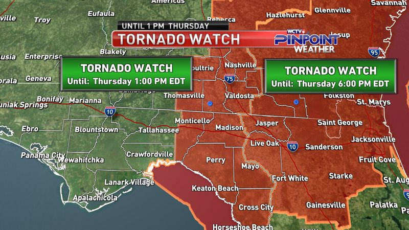 Tornado watches in the Big Bend and South Georgia as of noon Thursday.