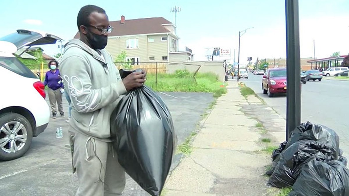 Antonio Gwynn, 18, spent 10 hours cleaning up his community in Buffalo, New York, after some...