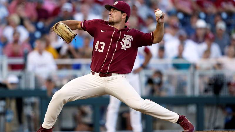 Florida State pitcher Drew Parrish (43) throws against Arkansas in the eighth inning of an NCAA...