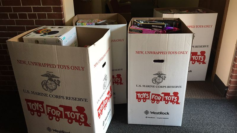 Toys for Tots boxes delivered to the Salvation Army