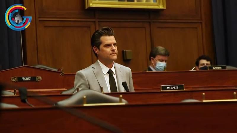 Rep. Matt Gaetz (R-Fla.) during a House hearing on April 15, 2021.