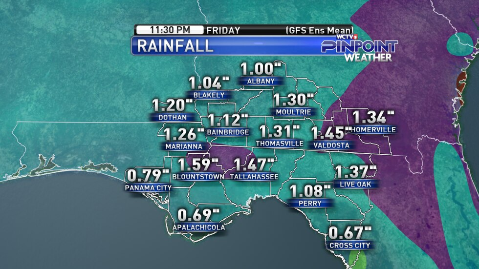 The American GFS ensemble model average showing potential rainfall totals through Friday night.