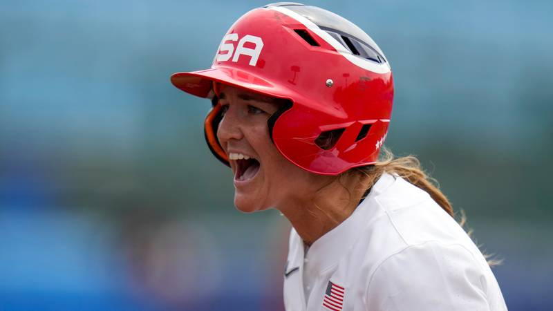 United States' Haylie McCleney reacts during the softball game between the United States and...