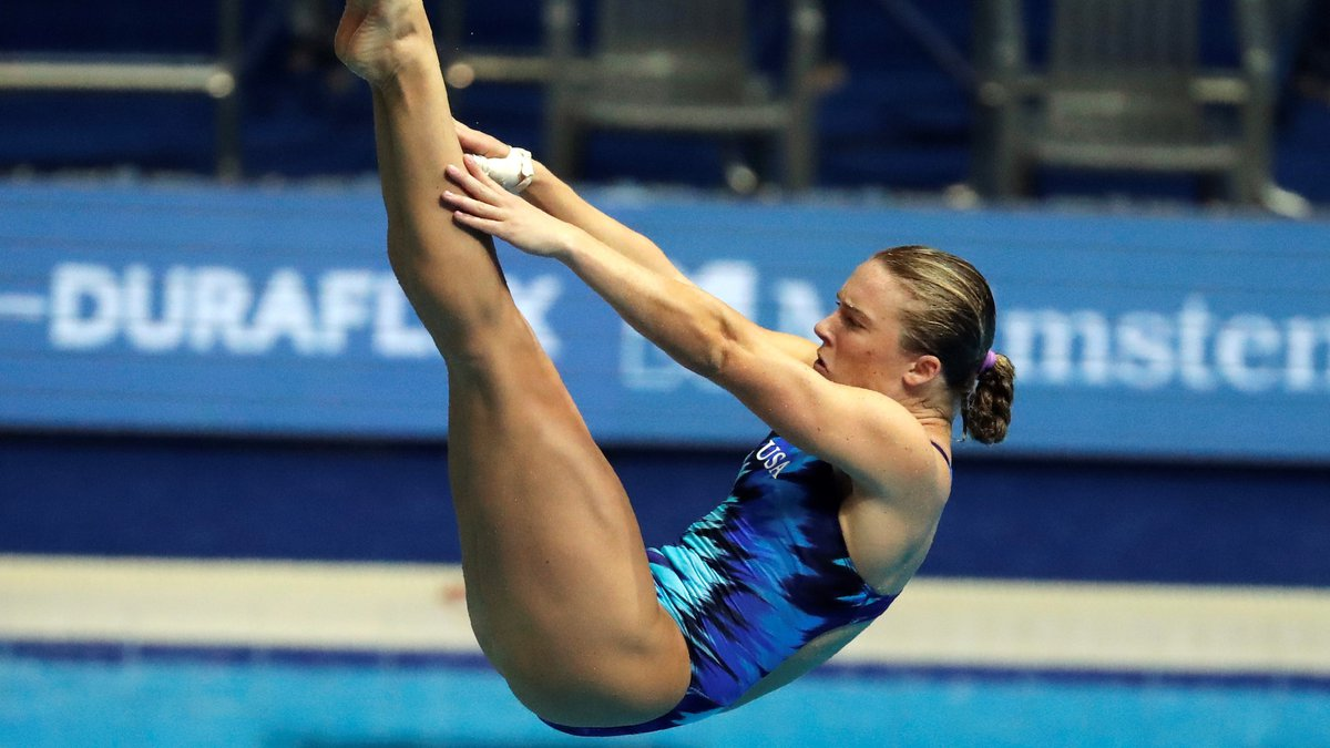 United States' Katrina Young performs in the mixed team event diving final at the World...