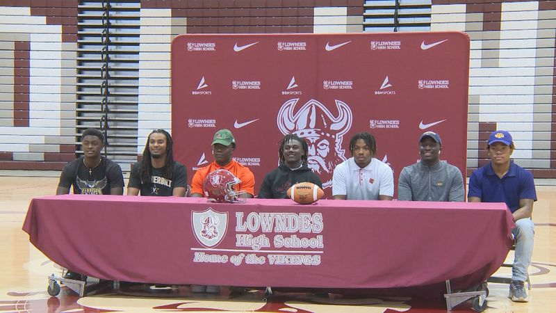 Seven members of the Lowndes High School football program signed National Letters of Intent on...