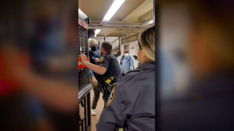 The NYPD is investigating internally after a video went viral showing an unmasked officer...