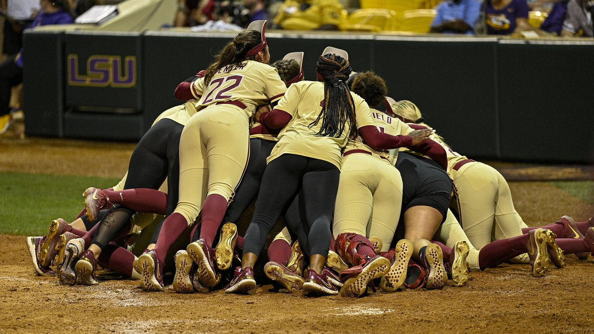 Florida State celebrates after walking off against LSU in Game 2 of the Baton Rouge Super...