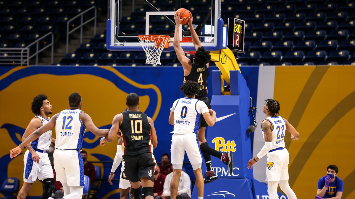 Scottie Barnes rises for a dunk as Florida State defeats Pittsburgh.