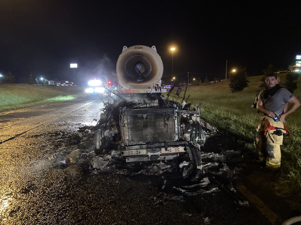 The tractor became engulfed in flames after the driver had just filled the tanks with diesel at...