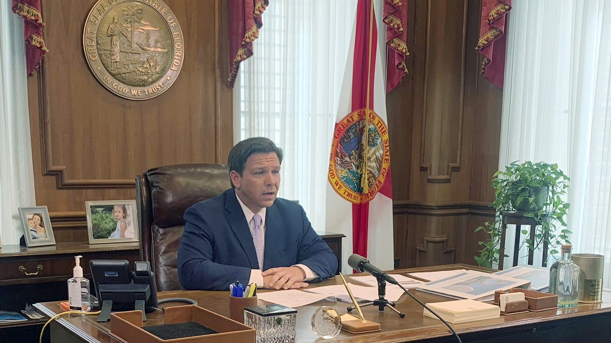 Florida Gov. Ron DeSantis speaks during a press availability, Tuesday, March 24, 2020, in...