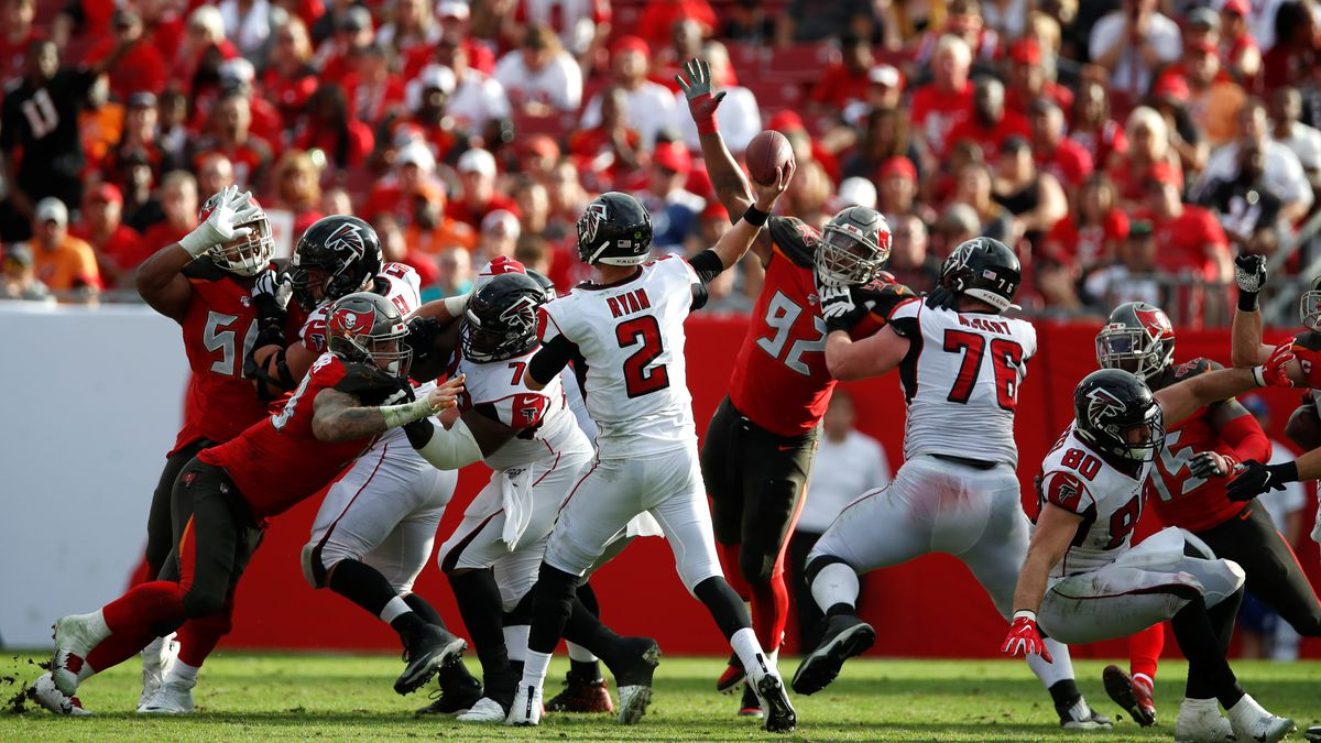 Atlanta Falcons quarterback Matt Ryan (2) throws a pass against the Tampa Bay Buccaneers during an NFL football game Sunday, Dec. 29, 2019, in Tampa, Fla. The Falcons won the game 28-22 in overtime. (Jeff Haynes/AP Images for Panini)