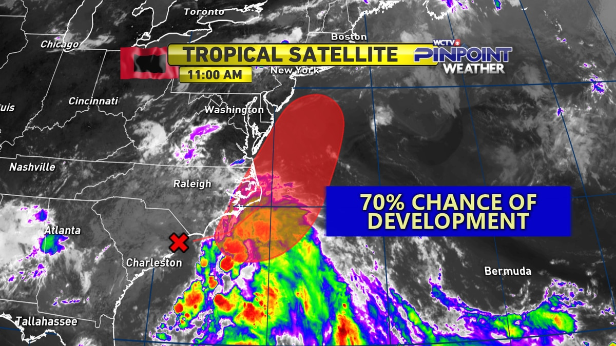 The National Hurricane Center is watching a low near the Carolinas with the potential of tropical or subtropical development.