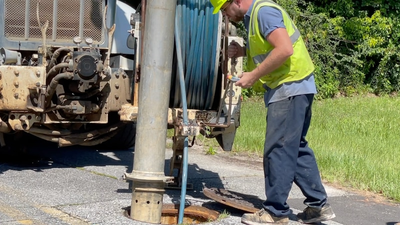 City crews work to clean sewers.