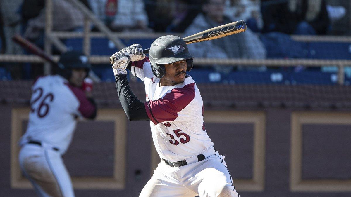 North Carolina Central's Luis DeLeon (35) bats during an NCAA baseball game on Sunday, Feb. 23,...