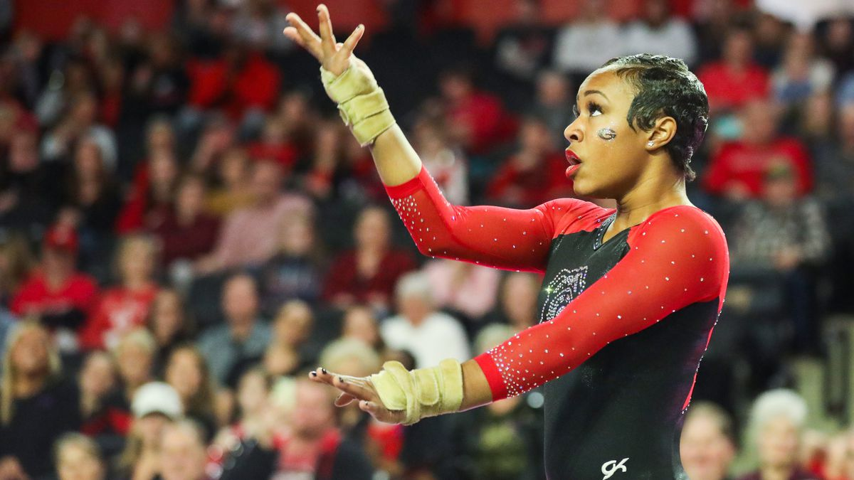 Georgia gymnast Sterlyn Austin during a gymnastics meet against Iowa State at Stegeman Coliseum in Athens, Ga., on Sun., Jan. 20, 2020. (Photo by Chamberlain Smith)