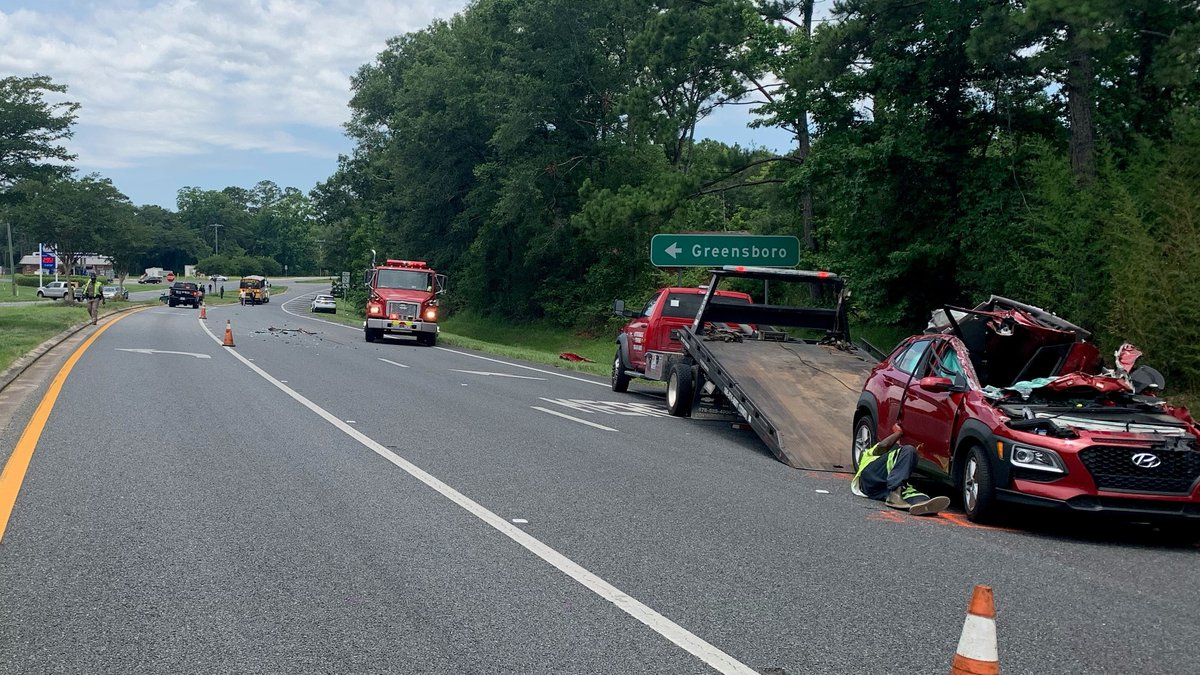 Troopers say none of the seven children on the bus were injured in the crash.
