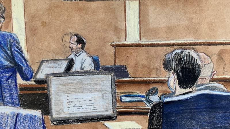 A courtroom sketch as JT Burnette took the stand in his corruption trial.