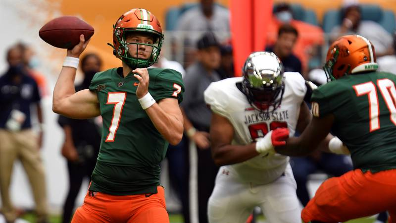 Florida A&M Rattlers quarterback Junior Muratovic (7) drops back to pass against Jackson State...