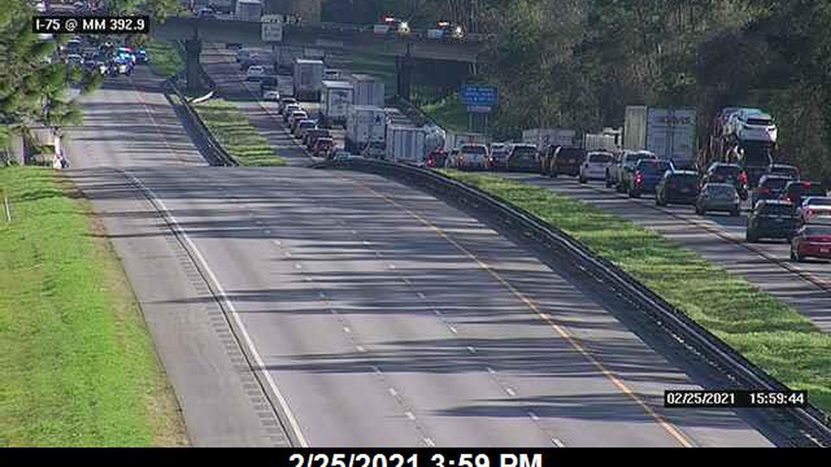 According to Florida 511 all lanes are blocked on I-75 North before mile marker 392.