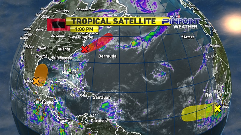 One tropical depression developed Monday morning off of the Atlantic coast while two other...