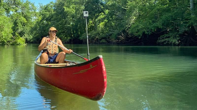Georgia River Network Paddle Georgia coordinator, Joe Cook, maps 11 miles of Spring Creek while...