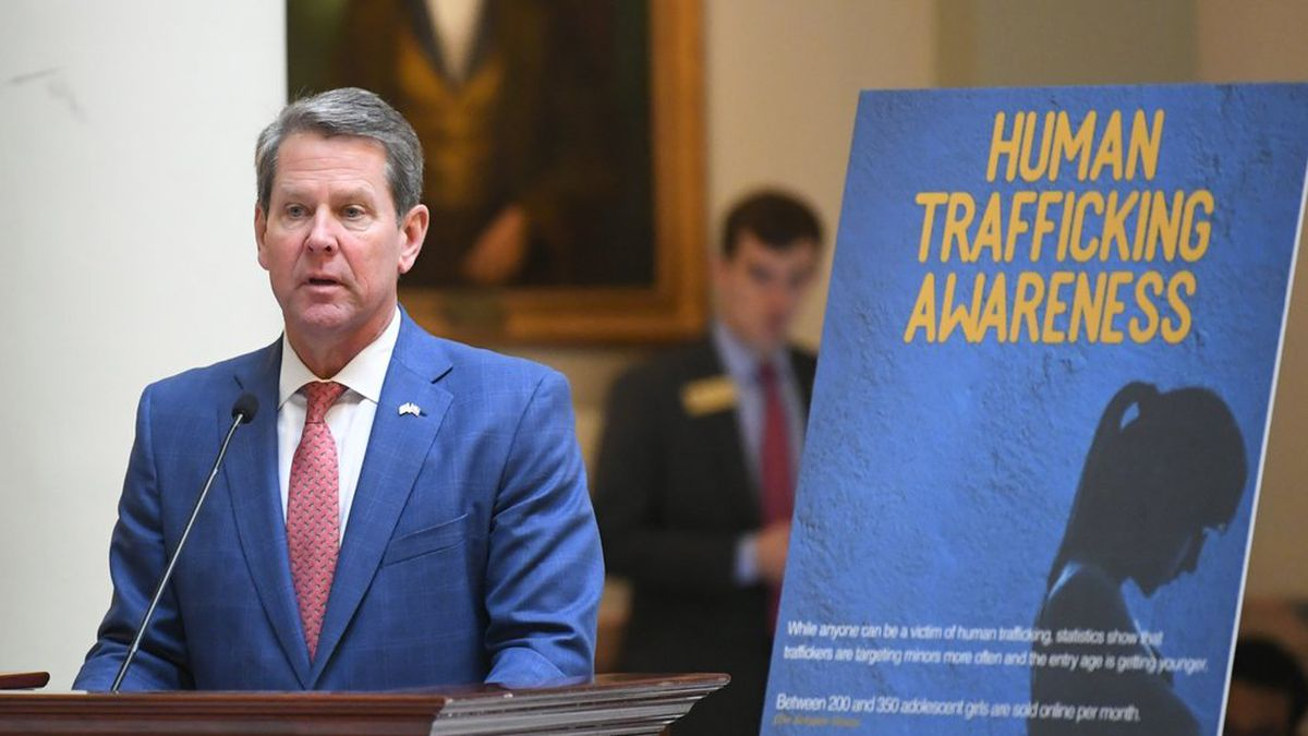 Georgia Gov. Brian Kemp speaks on the rotunda about Human Trafficking during the opening day of the year for the general session of the state legislature, Monday, Jan. 13, 2020, in Atlanta. (AP Photo/John Amis)