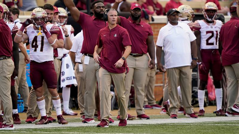 Florida State coach Mike Norvell watches during the second half of the team's NCAA college...