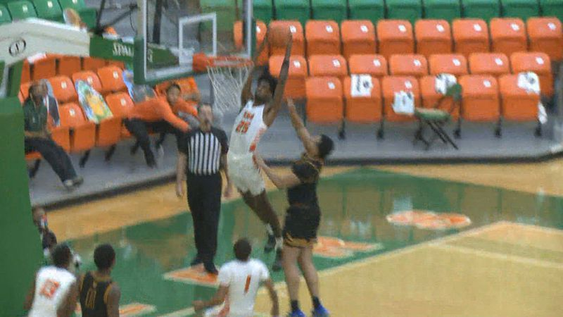 FAMU senior DJ Jones throws down a dunk during the Rattlers' loss to North Carolina A&T.