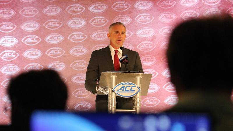 Florida State head football coach Mike Norvell speaks at the 2021 ACC Kickoff.