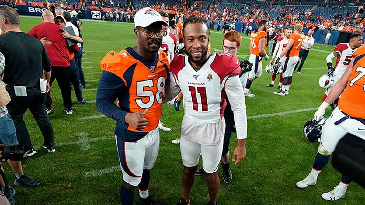 FILE - In this Aug. 29, 2019, file photo, Denver Broncos outside linebacker Von Miller (58)...