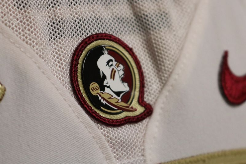 Detail shot of a white Florida State football jersey. (Photo: Ryan Kelly - WCTV Sports)